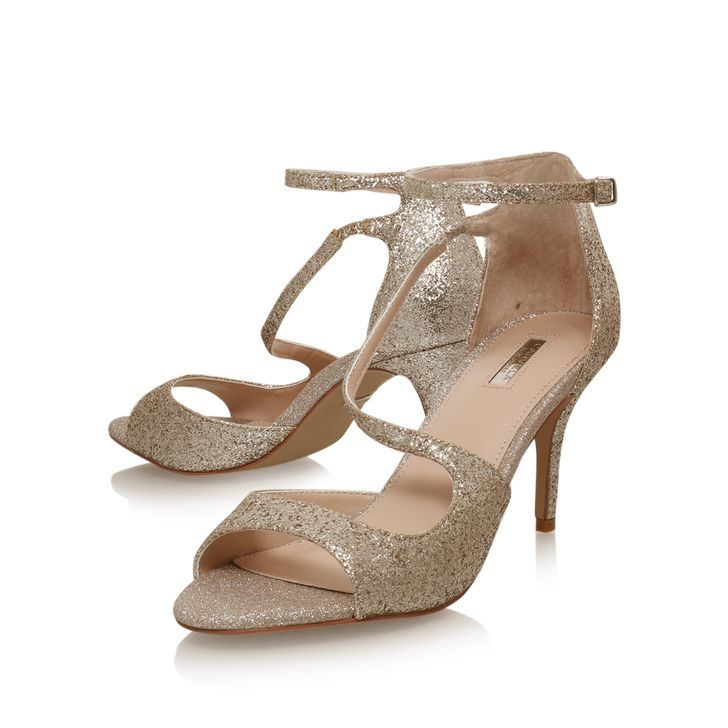 Gamma Gold Mid Heel Sandals By Carvela Kurt Geiger