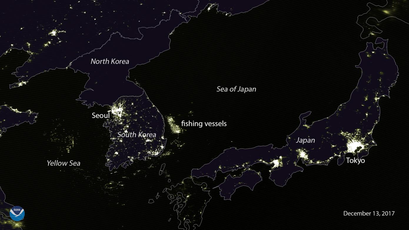 noaa 20 viirs day night band captures japan and the korean peninsula the noaa 20 polar orbiting satellites visible infrared imaging radiometer suite