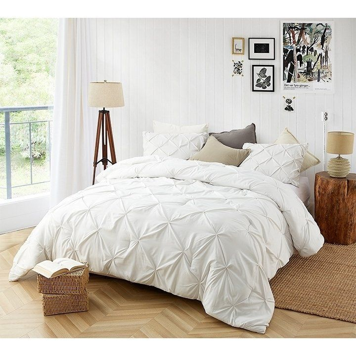 Byb farmhouse white pin tuck comforter twin xl byourbed