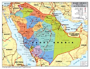 Map showing Saudi Arabia, Yemen, and other Arab and African