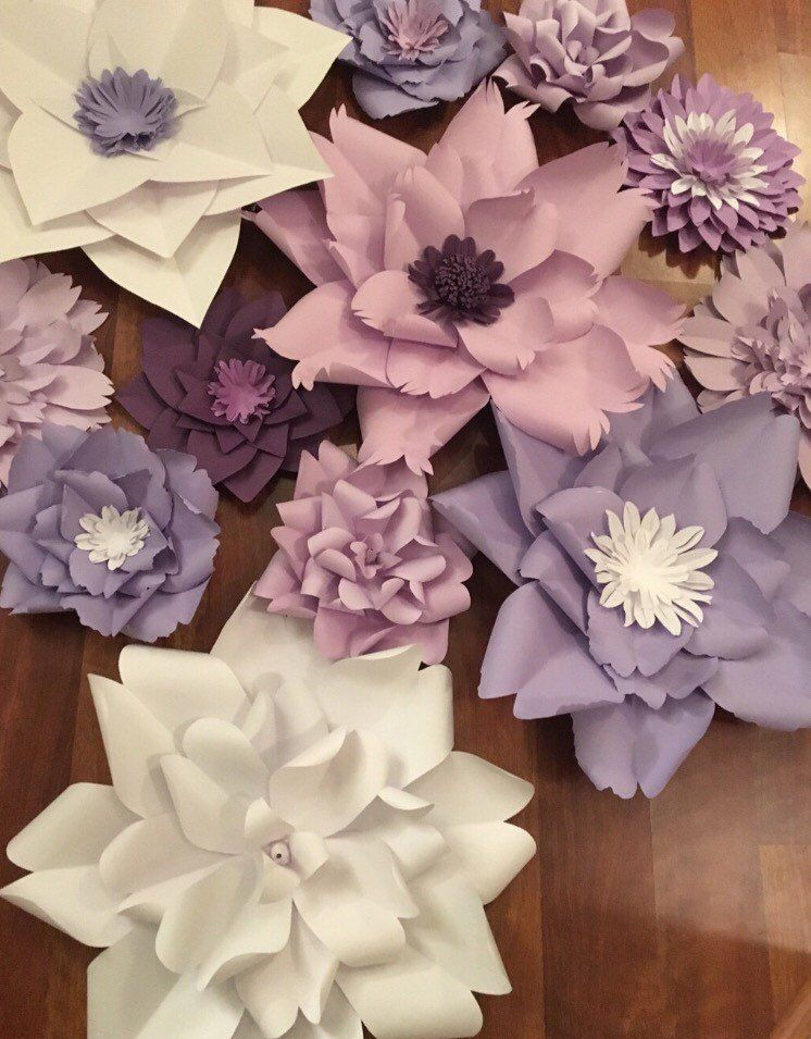 Paper Flowers Large Purple Paper Flowers Large White Paper Flowers