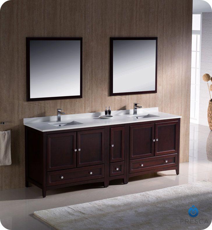 Oxford 84 Traditional Mahogany Double Sink Bathroom Vanity Set