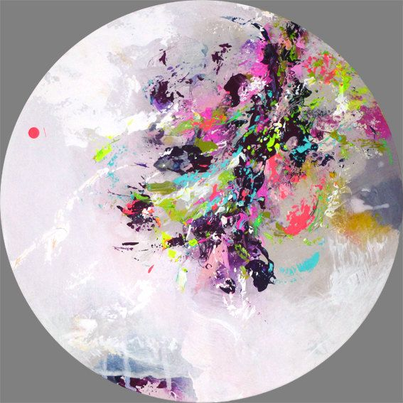 Round Purple And White Abstract Painting: Original Abstract Painting, Round Painting, Round Wall Art