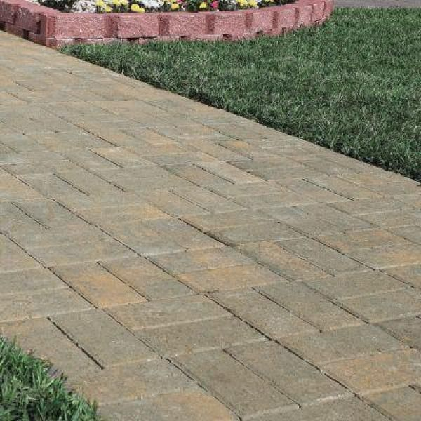 Oldcastle 4 In X 8 In Tan Charcoal Concrete Holland Paver 156309550 The Home Depot Concrete Pavers Walkway Concrete Pavers Paver