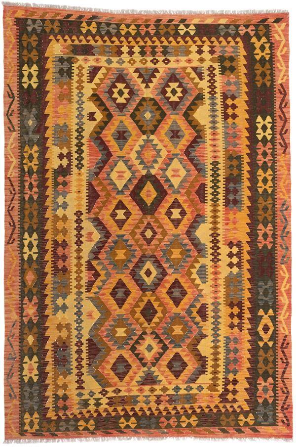 Hand woven Anatolian Kilim Copper, Light Yellow Wool Kilim ...
