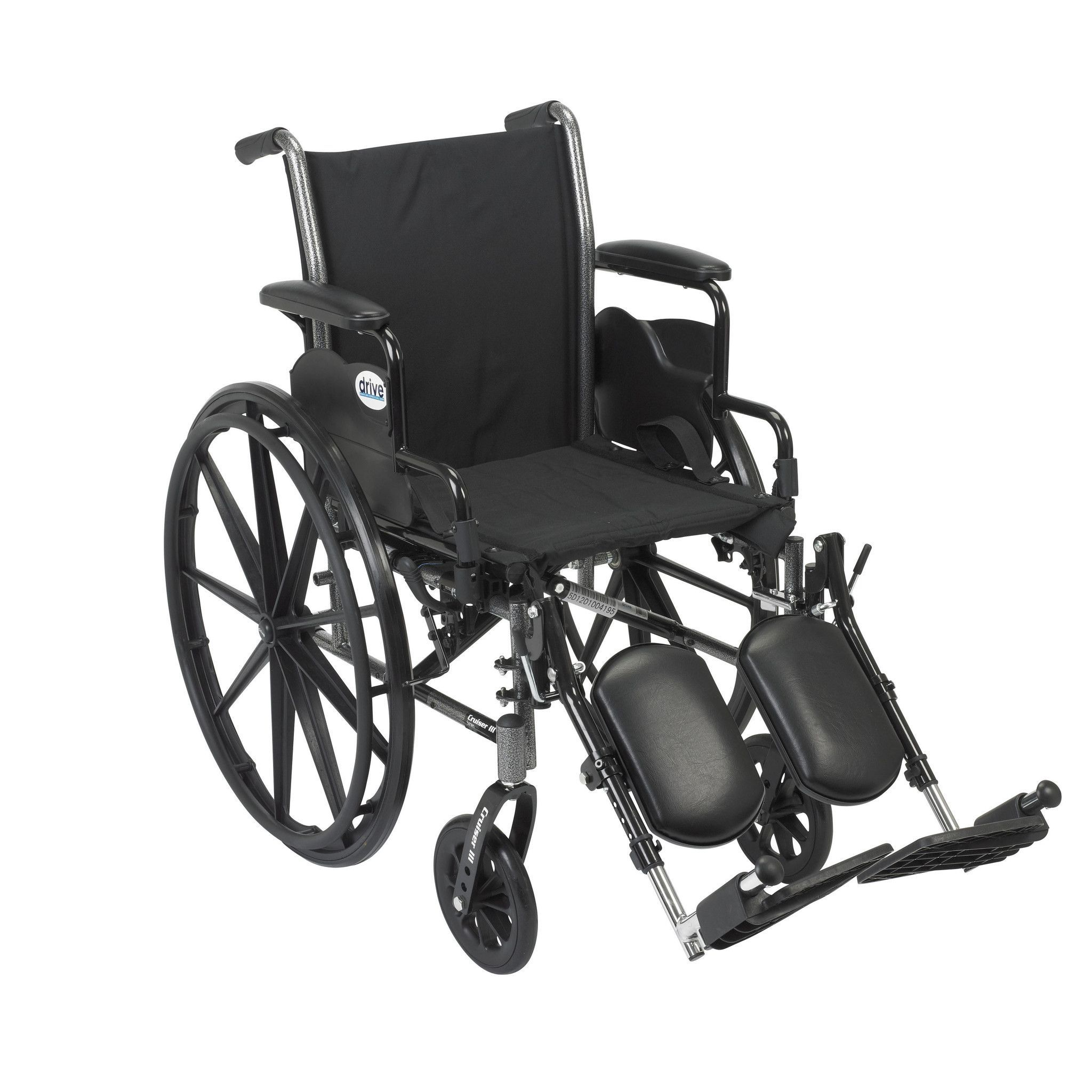 """Cruiser III Light Weight Wheelchair with Flip Back Removable Arms, Desk Arms, Elevating Leg Rests, 20"""" Seat"""