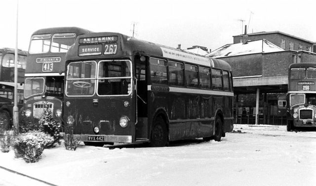 1965 Bristol LS5G WVX 442 in the snow at Kettering Bus Station