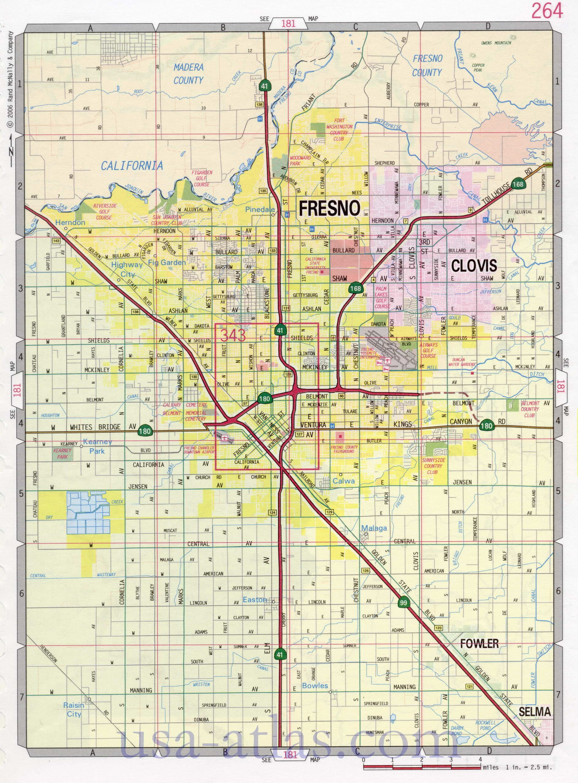 Map Of Fresno California Fresno street map. Large scale detailed streets map Fresno sity  Map Of Fresno California