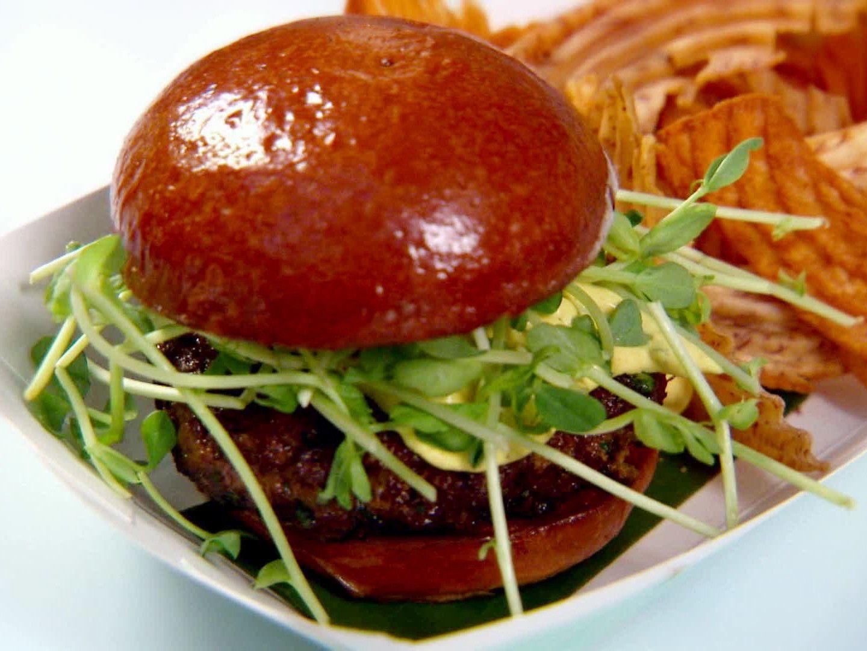 Lamb Burgers With Greek Yogurt Sauce Recipe Food Network Recipes Greek Yogurt Sauce Lamb Burgers