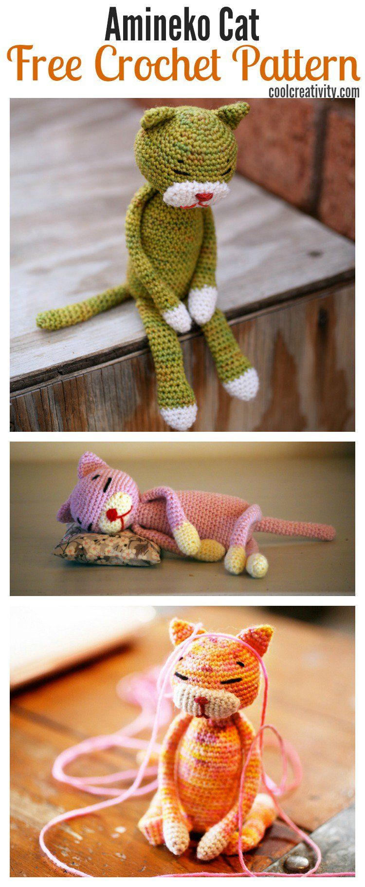 Crochet Amineko Cat with Free Pattern | Häkelmuster, kostenlose ...