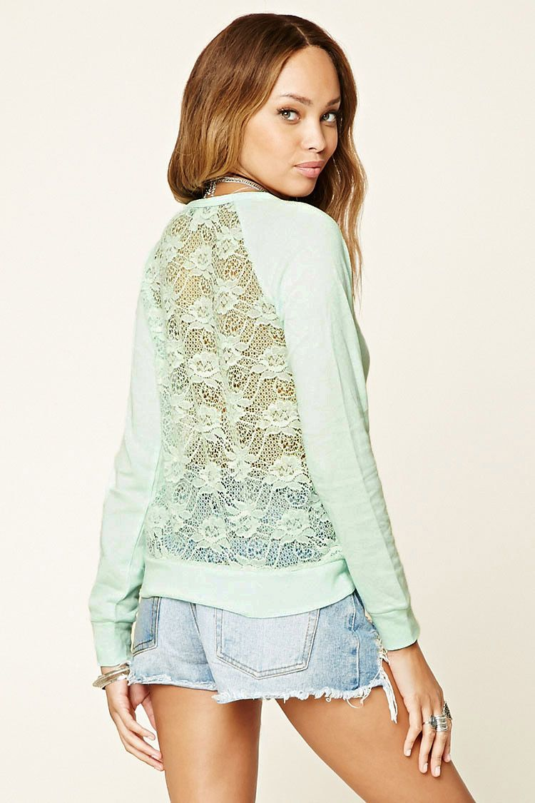 Floral Lace Back-Panel Top   Forever 21 - 2000250542