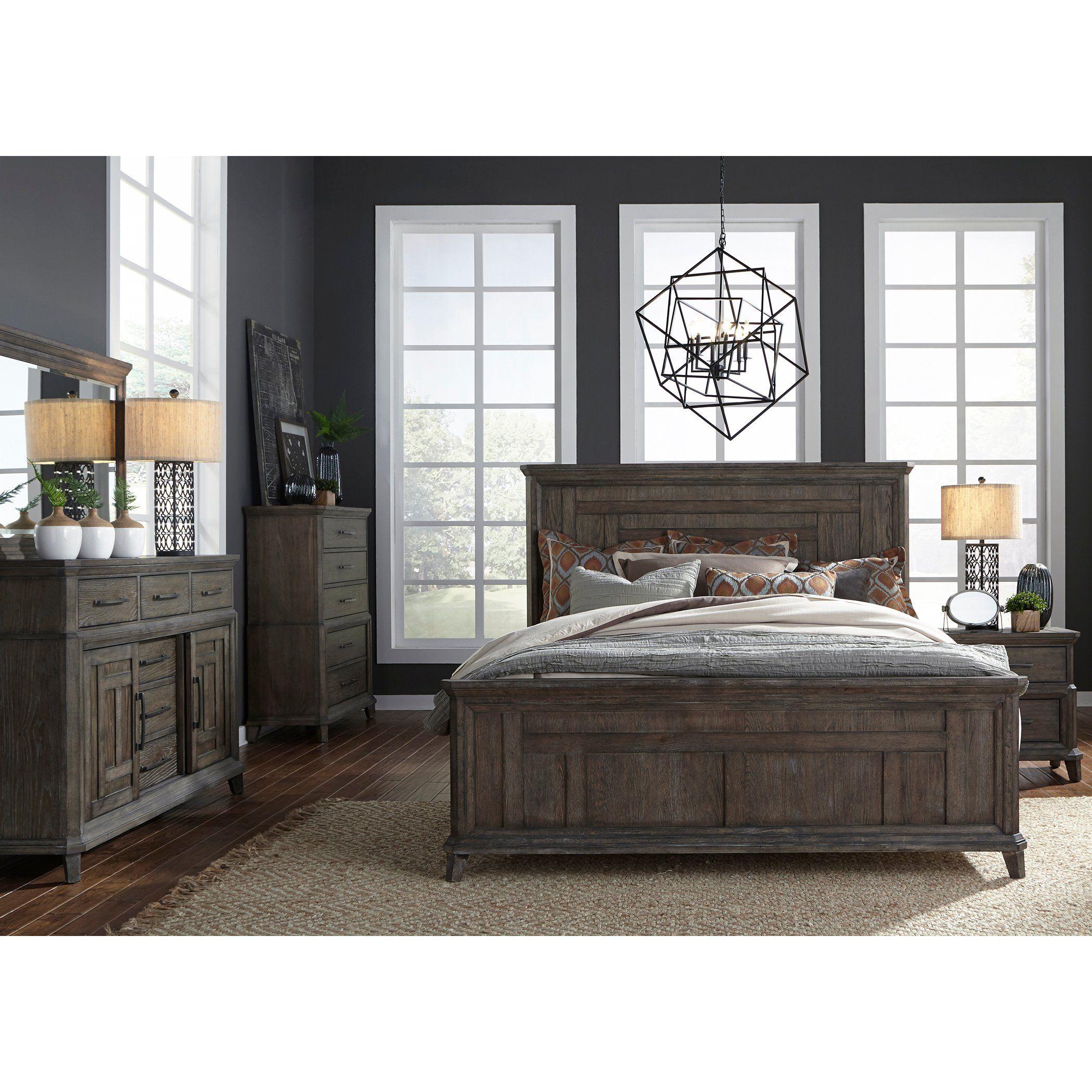 Classic Industrial Aged Oak 4 Piece King Bedroom Set