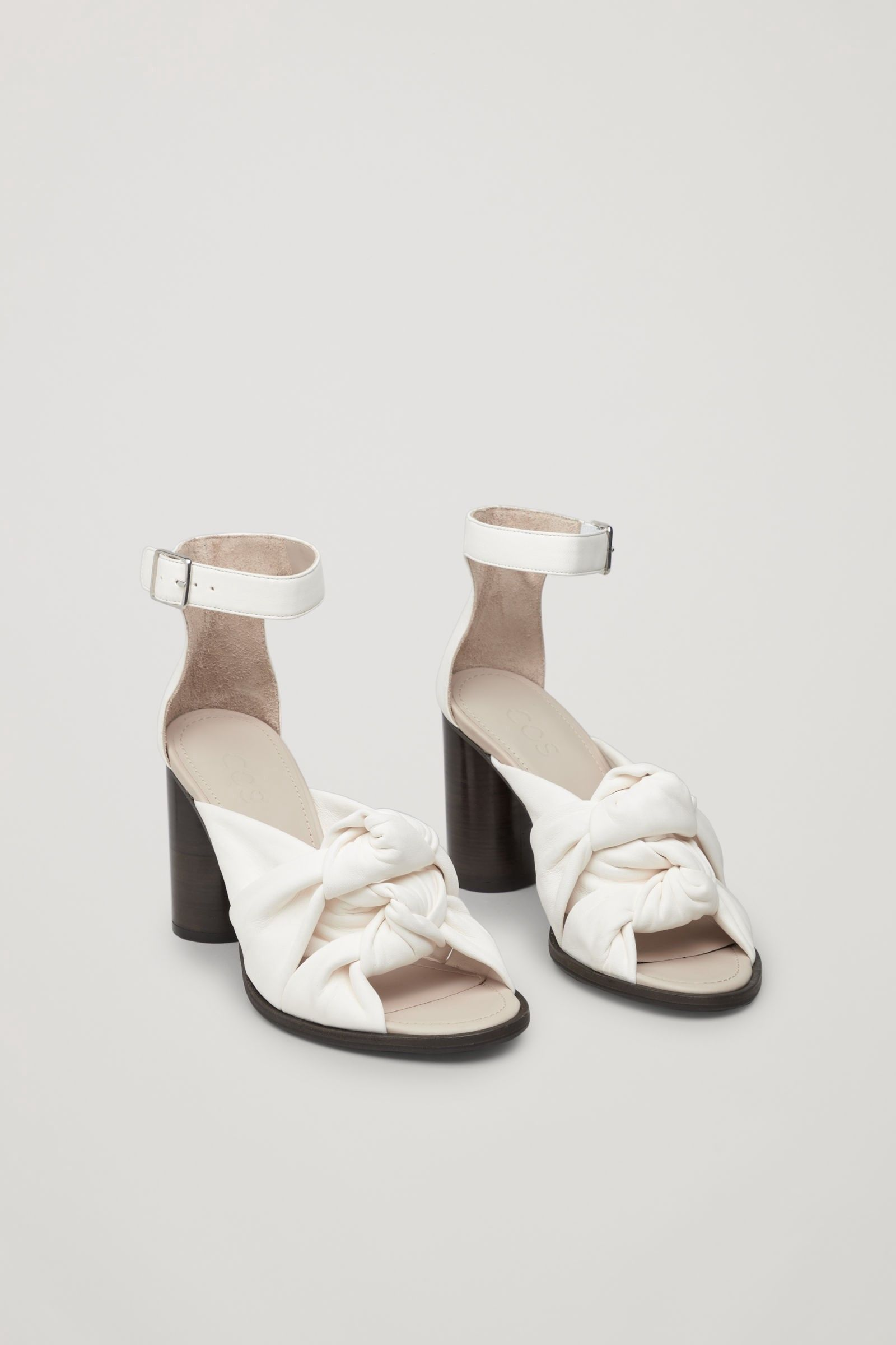 21510b73c5bba Cos Knot-Front Leather Sandals - Ivory 8.5