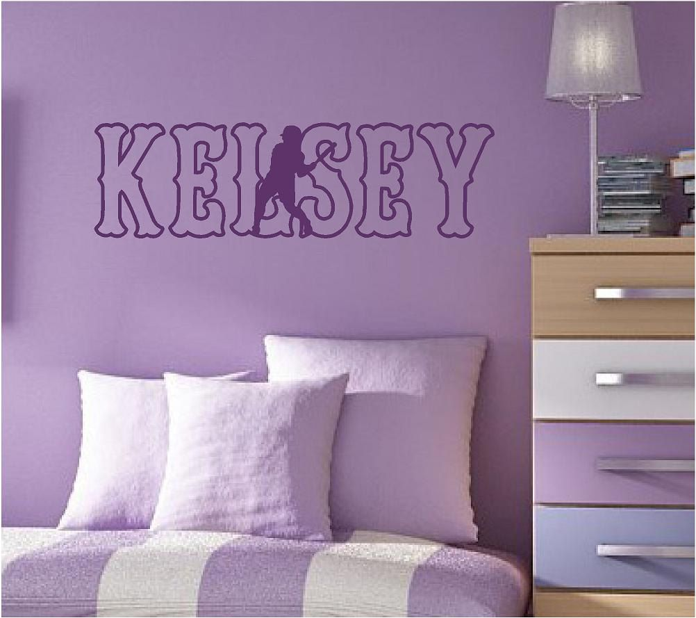 Softball wall decal personalized name and color pitcher player catcher