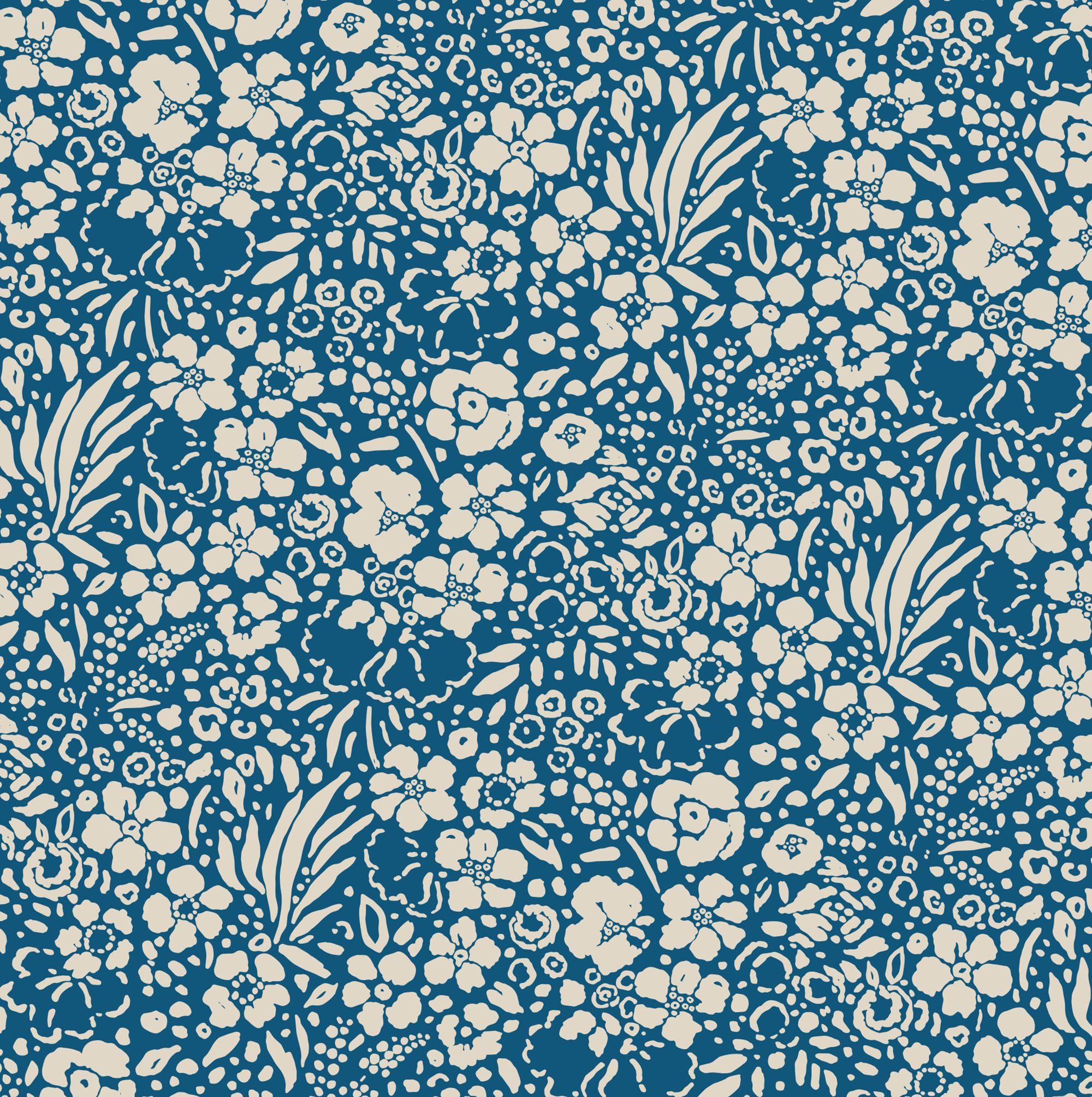 Floral Garden Shore - vintage blue flower print by Seasalt ...