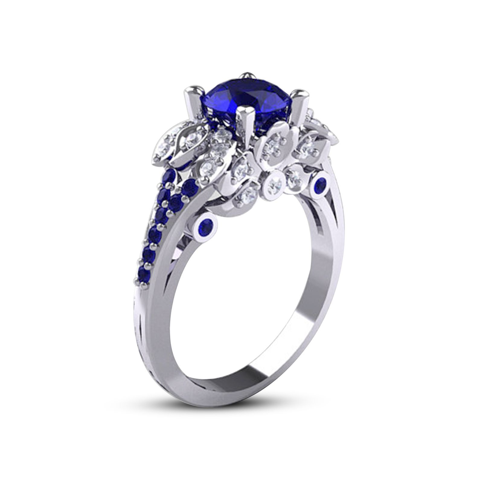 classic white in carat e ctw gold sapphire ring round blue solitaire
