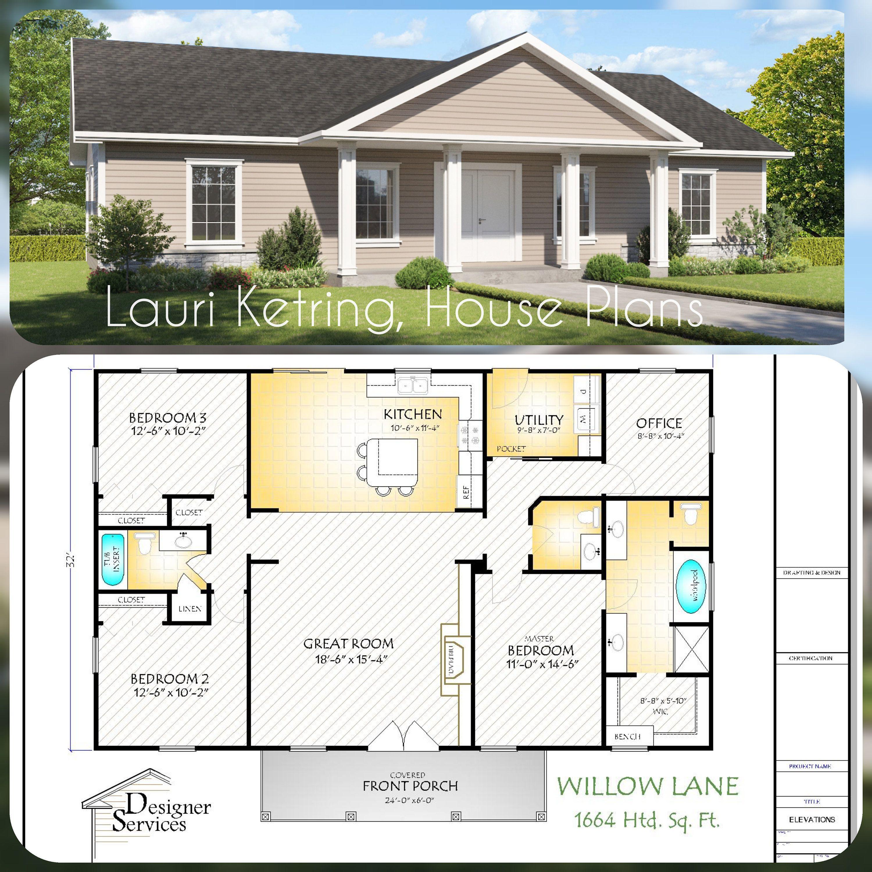Willow Lane House Plan 1664 Square Feet Gable Roof Option House Plans Farmhouse One Level House Plans Dream House Plans