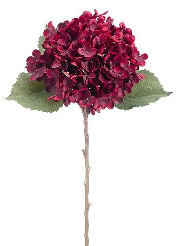 Artificial Silk Hydrangea Stem In Burgundy 20 5 Tall Wedding Flowers Hydrangea Fall Wedding Flowers Silk Hydrangeas