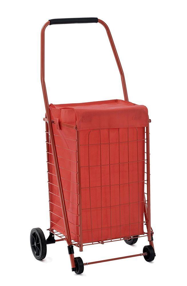 Folding Shopping Cart Grocery Basket Portable Rolling Utility