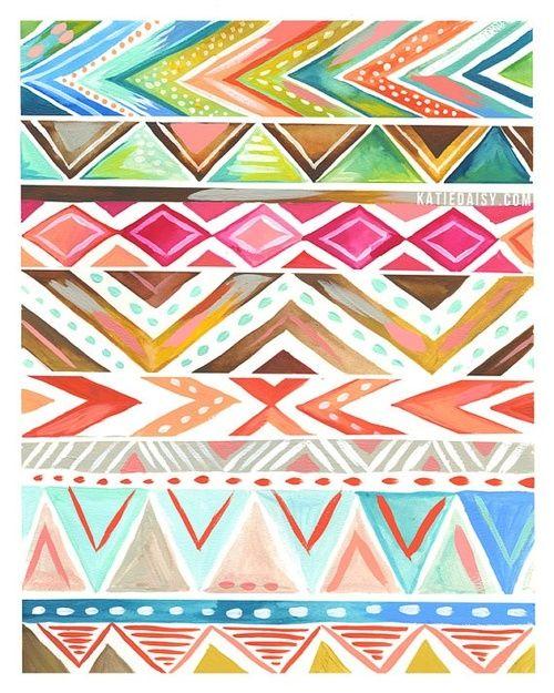 Tribal Iphone Wallpaper: Azalea Stripe By Katie Daisy