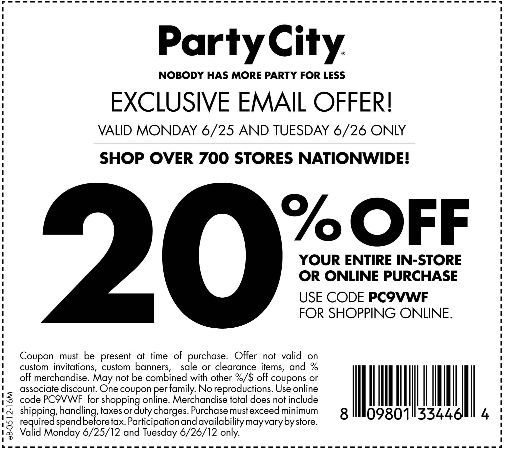 20 Off Purchase At Party City Coupon Party City Printable Coupons Coupons For Free Items