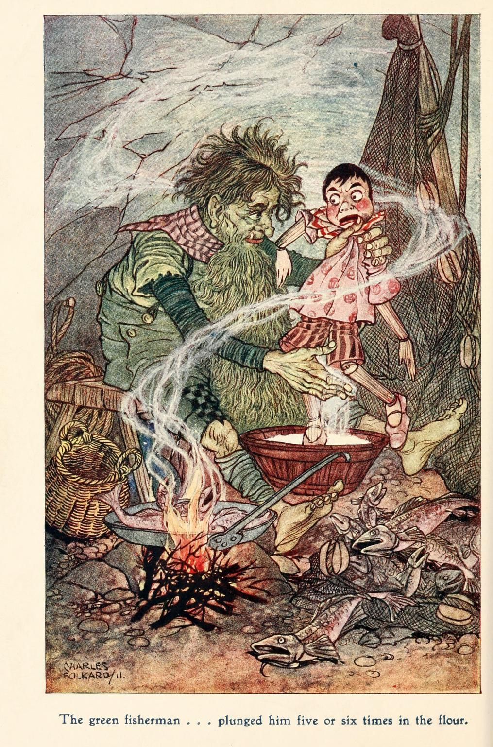The green fisherman...plunged him five or six times in the flour - Pinocchio, The Tale of a Puppet by C. Collodi, 1911