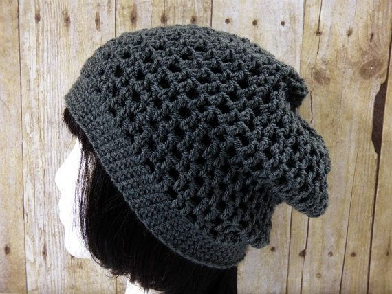 Grey Gray Mesh Slouch  Crochet Slouchy Beanie  by YarnOverDesign