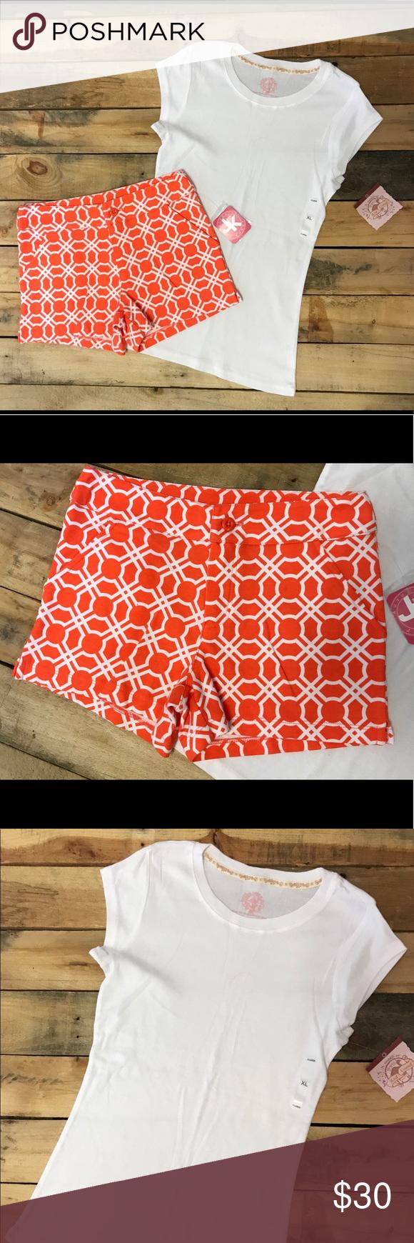 634a81c697a1 Girls Orange Shorts   White Top Size L NWT
