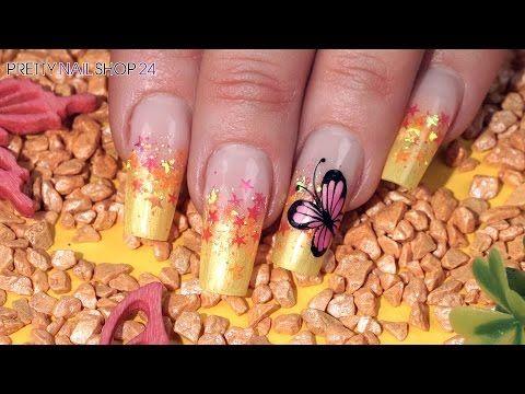 "Nailart Diamond Glitter ""Pink Butterfly"" - YouTube"