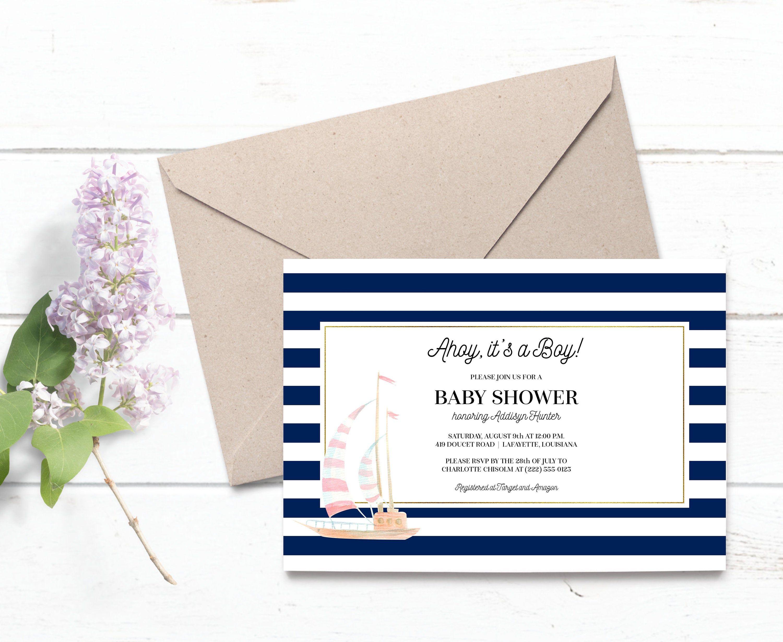 Nautical Baby Shower Invitation - Pirate Ship Invite ...