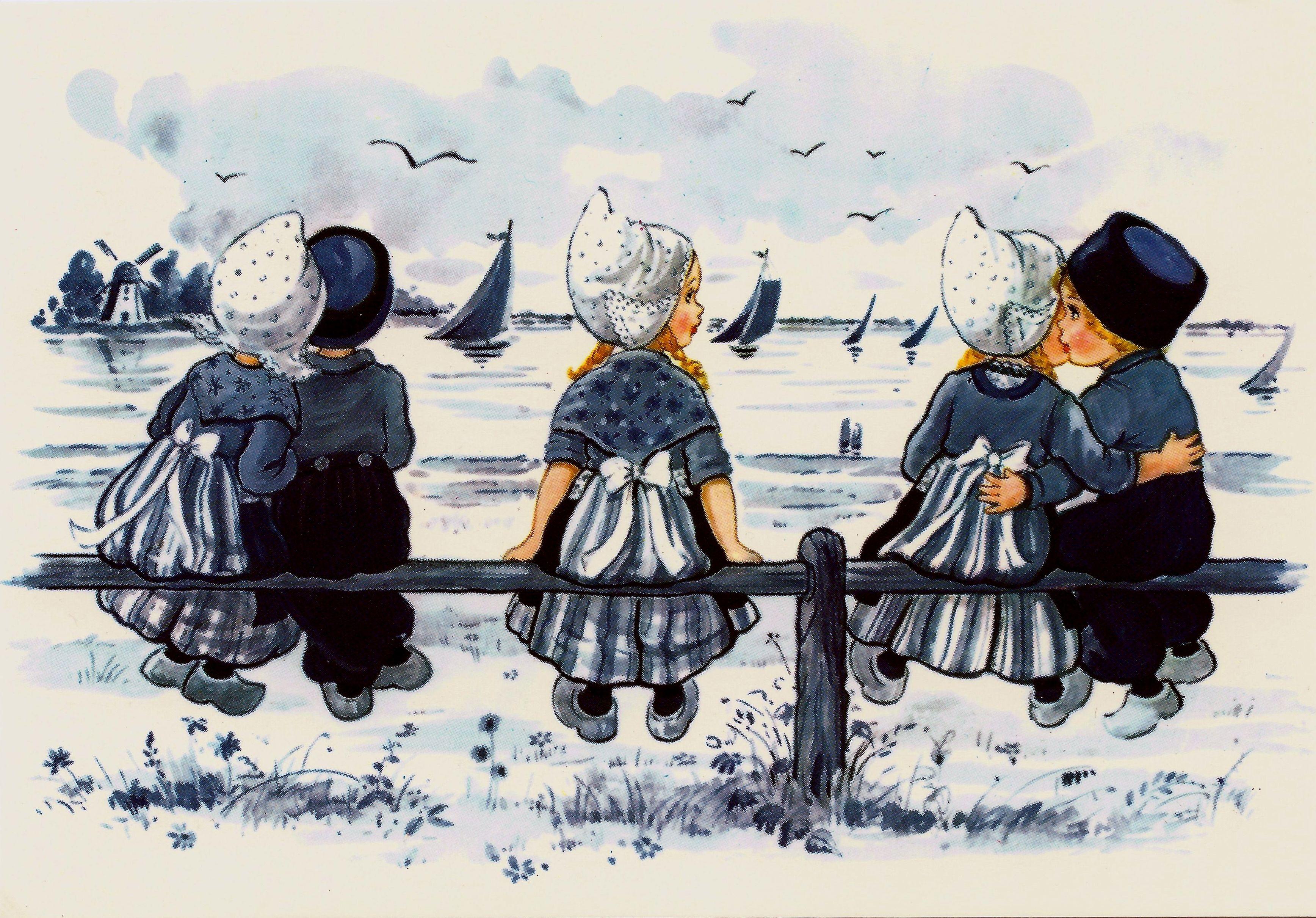 Открытки бантик, винтажные голландские открытки