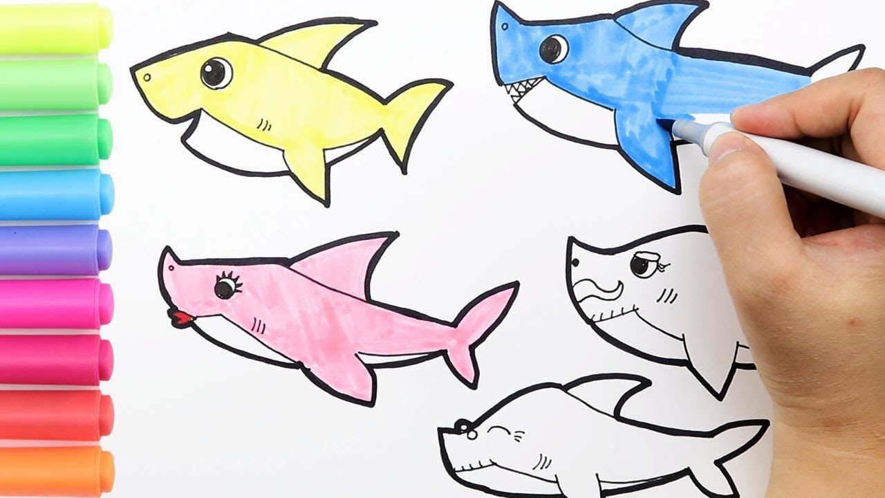 Coloring Baby Shark Family Coloring Page|How to draw ...