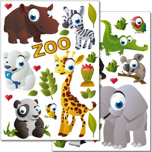 Wandkings Wall Stickers Zoo Animals Sticker Set 37 Stickers On 2 Us Letter Sheets Each 83 X 117 Inch Animal Stickers Wall Stickers Wall Stickers Animals