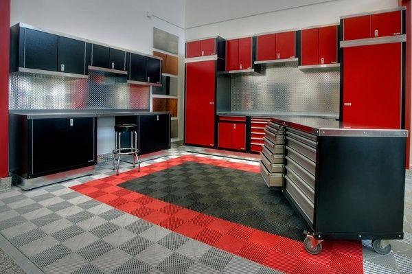Best Garage Cabinets Modern Organization Black Red Storage Flooring