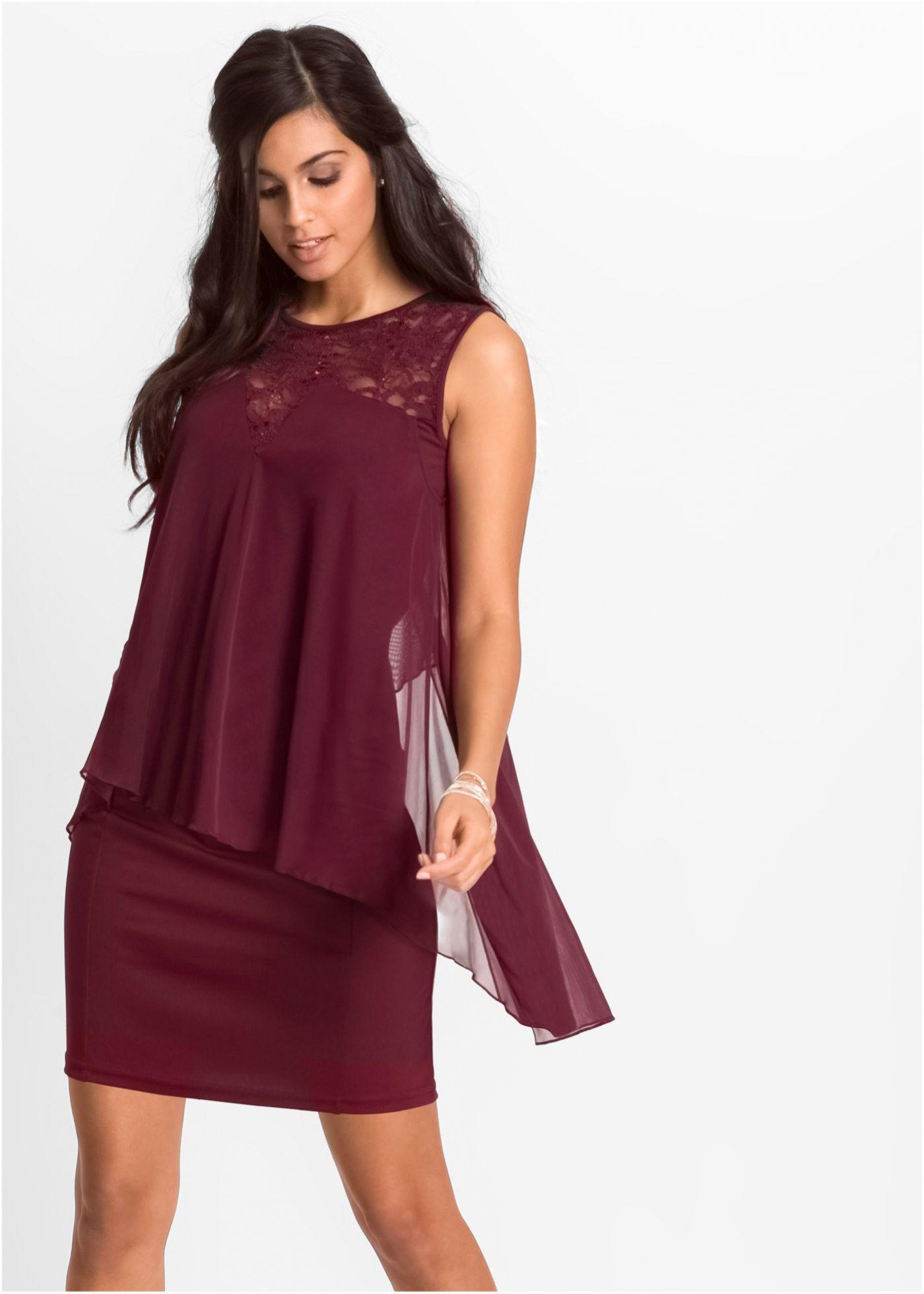 Jerseykleid mit Chiffon | Kleider, Kleider damen und ...