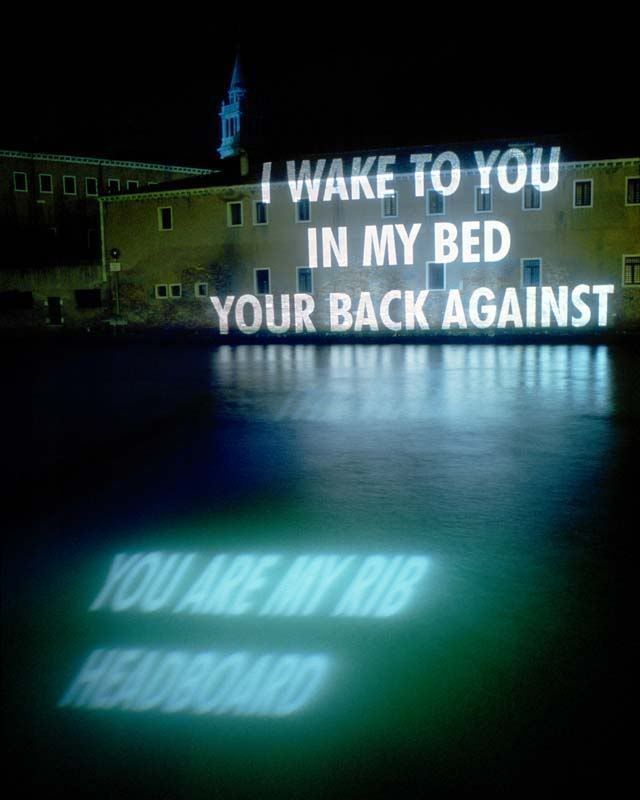 Helmut Lang Perfume campaign collaboration with Jenny Holzer in Venice