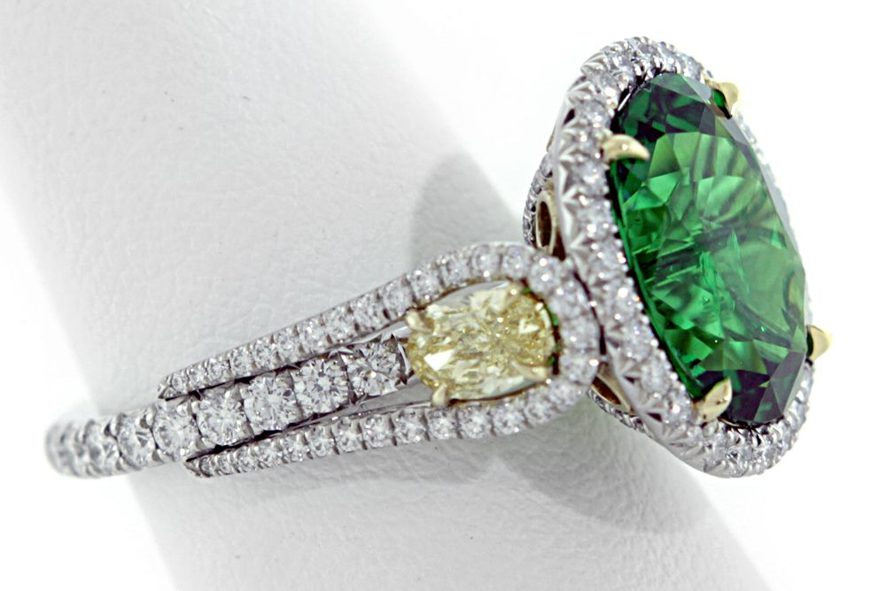 Tsavorite-Yellow Diamond Engagement Ring