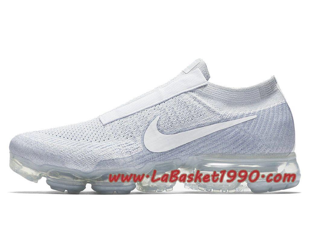 e5283af57b8 Nike Air Vapormax Laceless Pure Platinum Chaussures Nike Vapormax 2018 Pas  Cher Pour Homme Blanc AQ0581