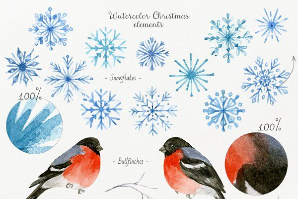 Christmas Crafts.Watercolor DIY Pack by NataliVA on @creativemarket