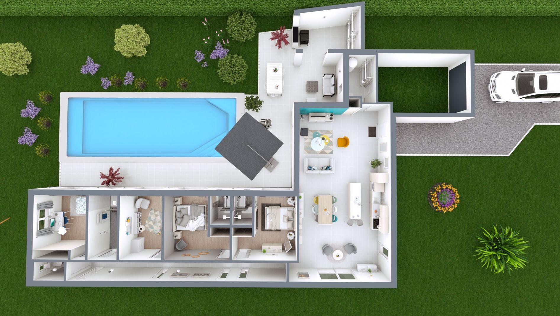 Maison à toiture plate Loft 3 - maison de plain-pied | Maison laure, Plan maison contemporaine ...