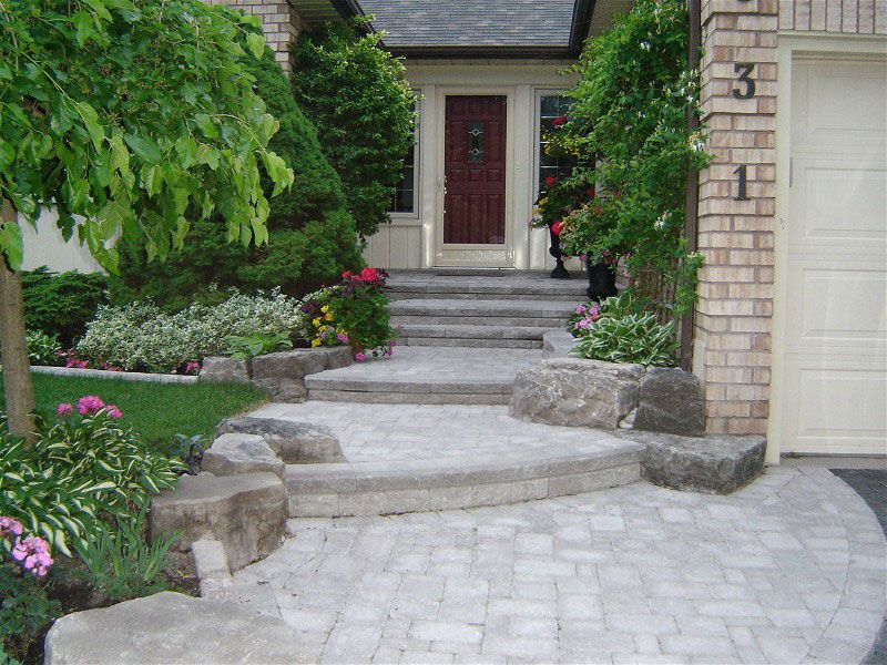 Landscaping Large Front Yards Entrance Yard Interlocking Brick