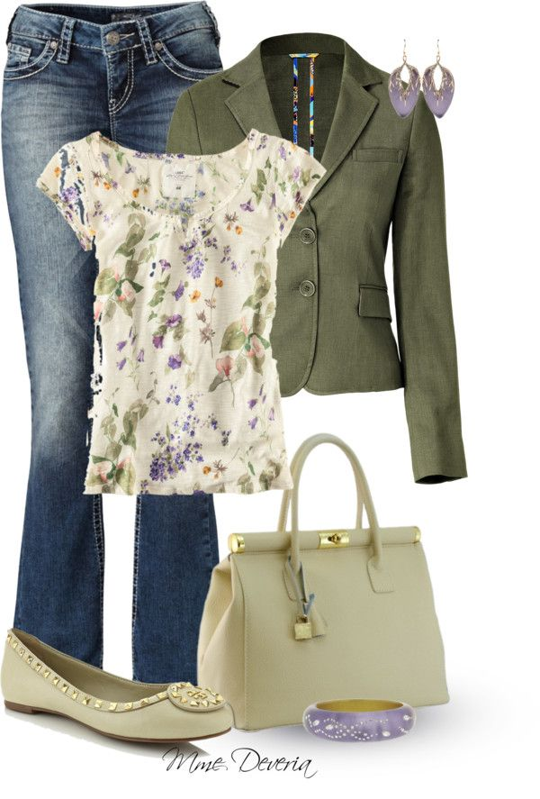 """""""Tory Burch Dale ballet flat"""" by madamedeveria on Polyvore """"This blouse is SO my style! It's SO CUTE!"""""""