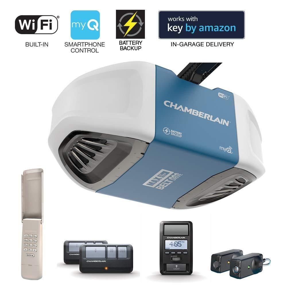 Chamberlain B970 Smartphone Controlled Ultra Quiet Strong Belt Drive Garage Door Opener Blue Smart Garage Door Opener Best Garage Door Opener Chamberlain Garage Door Opener
