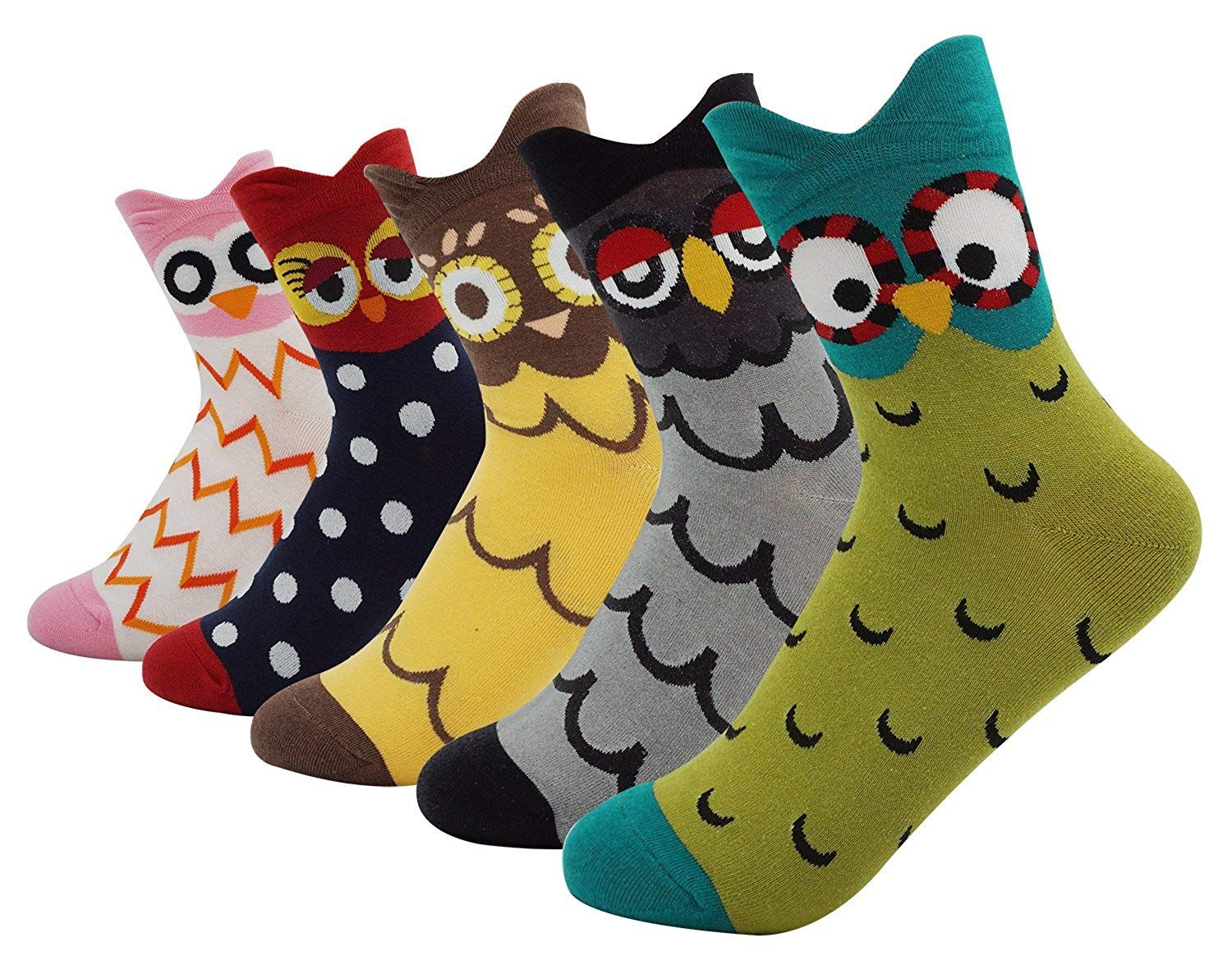 efddd158465af Women's Lady's Cute Owl Design Cotton Socks, 5 Pairs Multi Color One ...