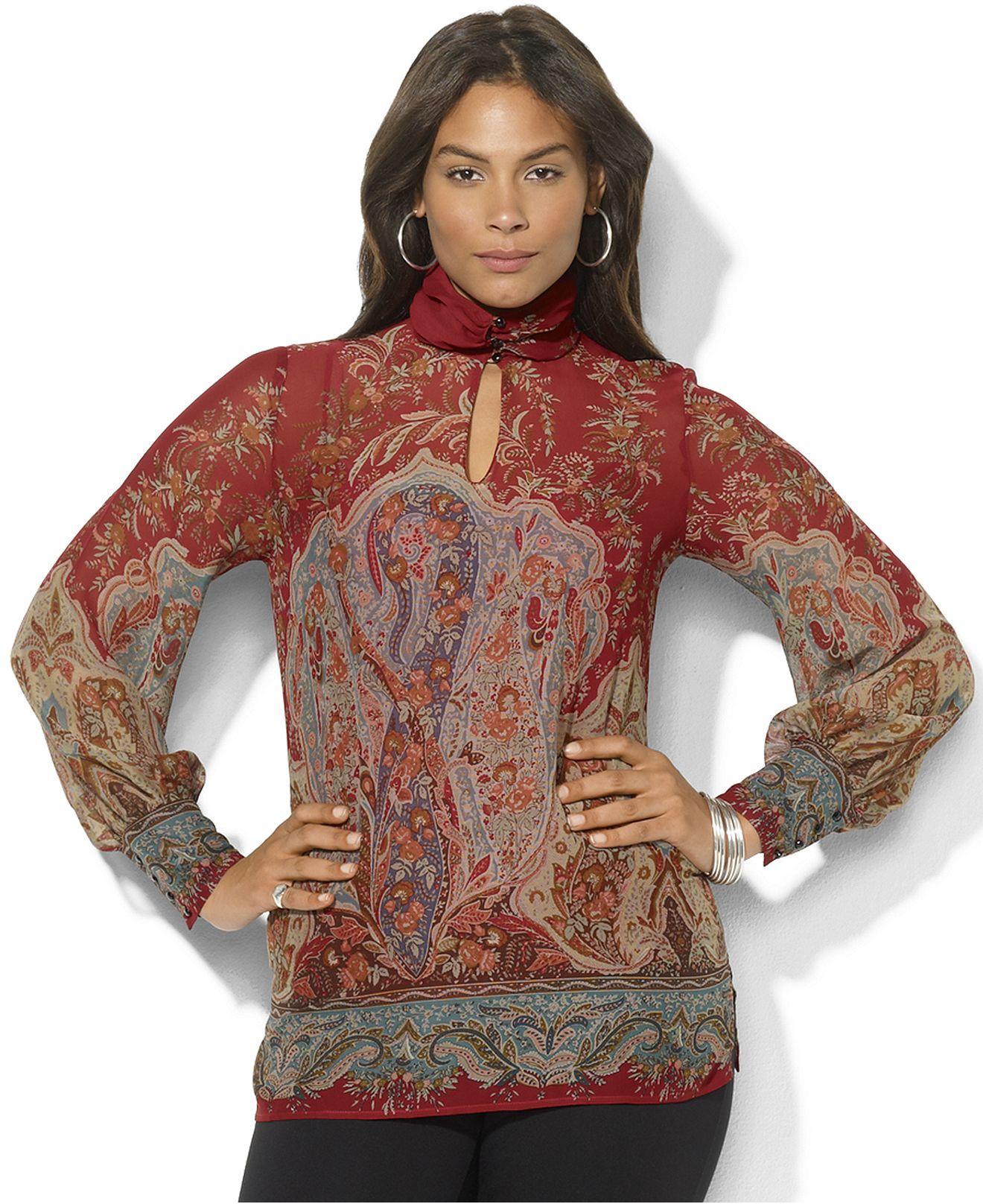 lauren ralph lauren plus size top, long-sleeve printed mock-neck