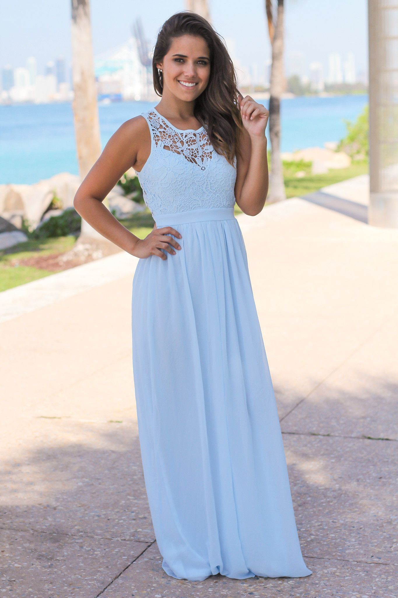 Light blue crochet maxi dress with open back wedding planning