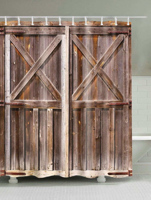 Bath Decor Vintage Woody Door Fabric Shower Curtain Wooden Barn