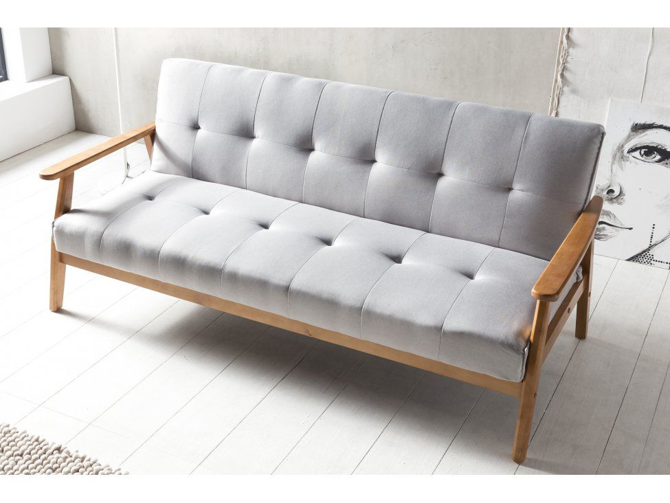 Sofa Bed With Armrests In Wood Light Gray Dundal Salesfever Salesfever Com Design Schlafsofa Schlafsofa Wohnen