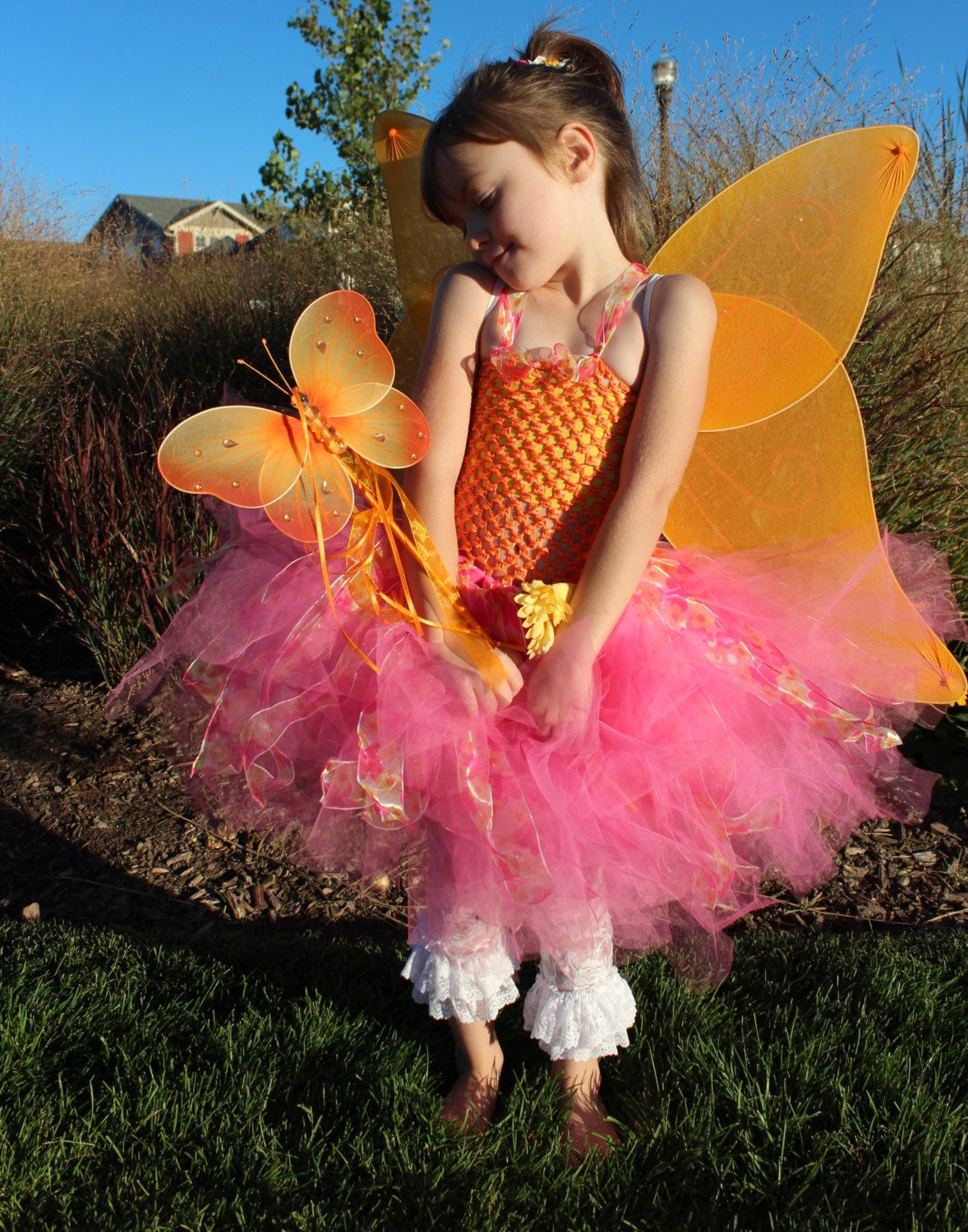 Pink and Orange butterfly Fairy 4 piece tutu by Passion4Expression, $65.00