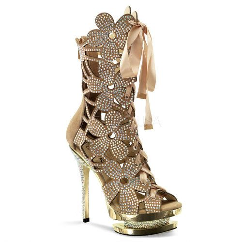 "Pleaser, Large Size, FANTASIA-1020, 6"" Heel, 1 1/2"" Dual Platform, Floral Cut-Out, Front Lace-Up Ankle Boot with Rhinestone Embellished on Upper, Inlay & Heel, Back Zipper in Blush Suede/Gold Chrome"